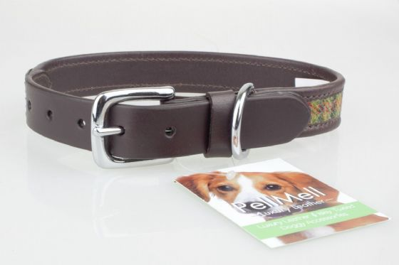 Islay Tweed and Luxury Leather Green Dog Collar in XL Extra Large,Gift Idea Pets